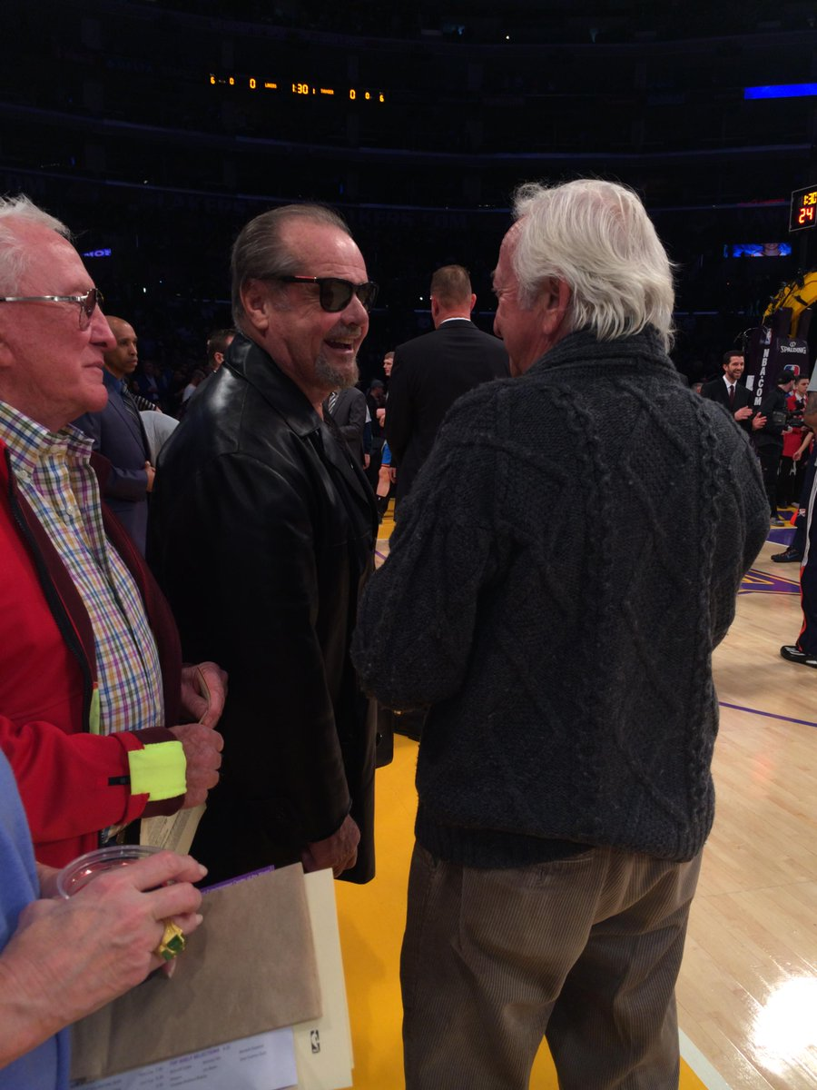 Photo of Jack Nicholson courtside at a Los Angeles Lakers game.