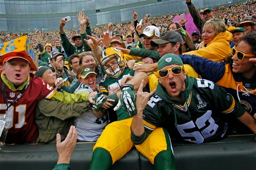 Photo of Green Bay Packers fans at Lambeau Field.