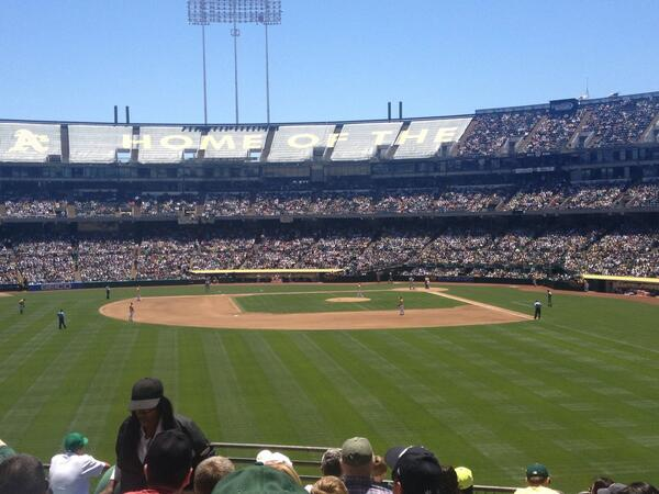 View of Oakland Coliseum from the left field bleachers.