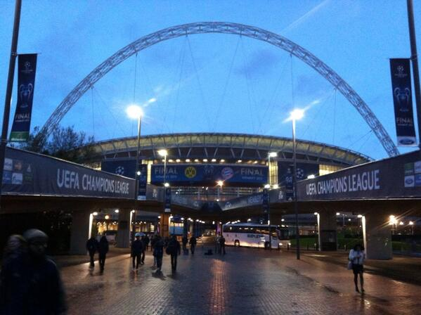 Exterior photo of Wembley Stadium in London, England.