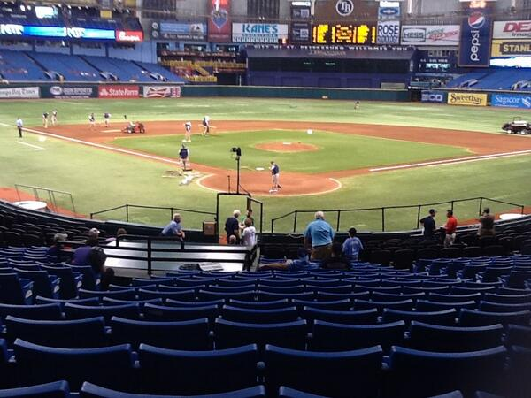 View from the lower box preferred seats at Tropicana Field during a Tampa Bay Rays game.