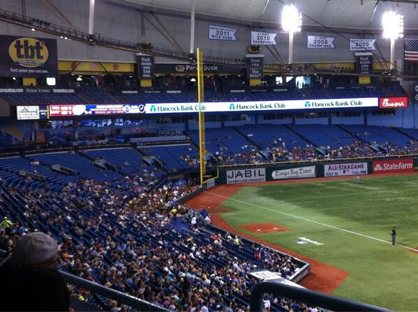 View of the lower corner sections at Tropicana Field in Tampa Bay, Florida.
