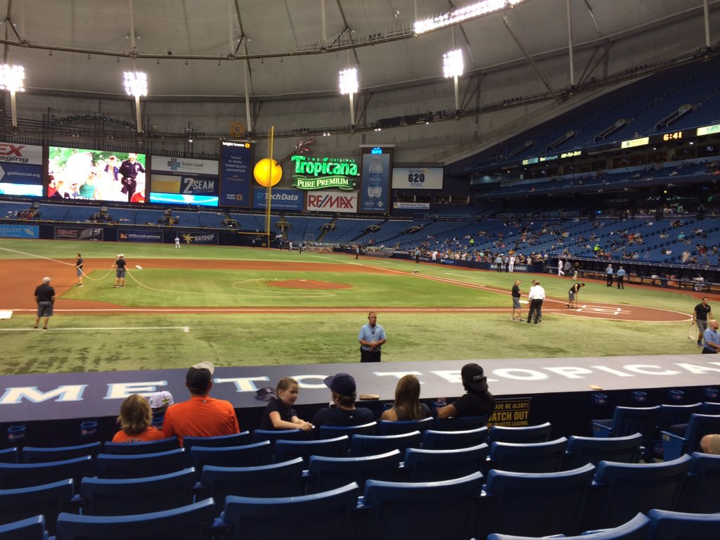View from the lower infield box seats at Tropicana Field during a Tampa Bay Rays game.