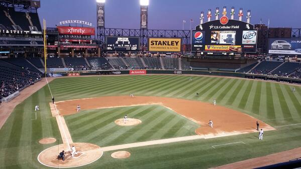 Photo of the field at Guranteed Rate Field during a Chicago White Sox home game.