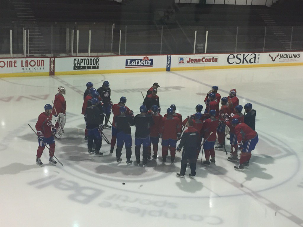 Montreal Canadiens Players during a morning skate at the Bell Centre