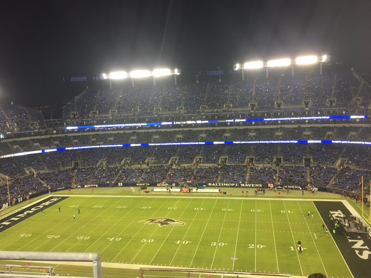 Photo of the field at M&T Bank Stadium. Home of the Baltimore Ravens.