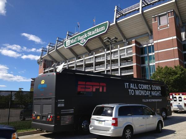 Photo of the exterior of M&T Bank Stadium, home of the Baltimore Ravens.