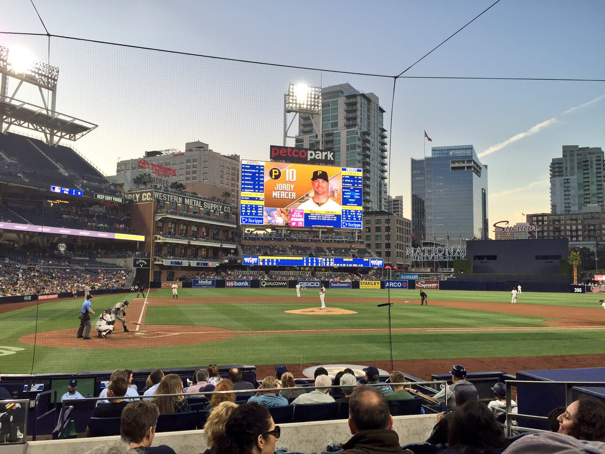 Photo of Petco Park from behind home plate; home of the San Diego Padres.