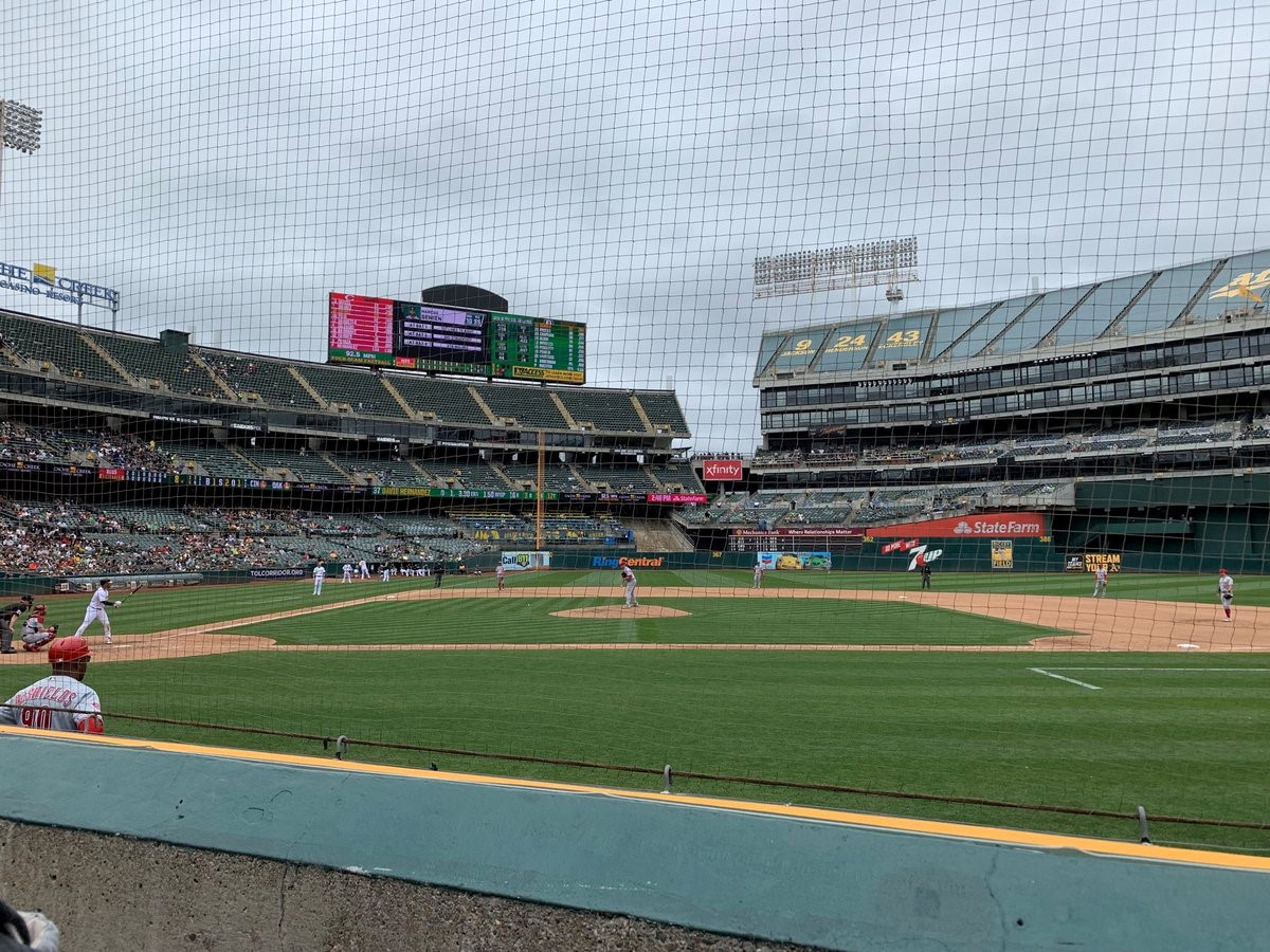 Photo of an Oakland Athletics vs. Cincinnati Reds game at Oakland Coliseum.