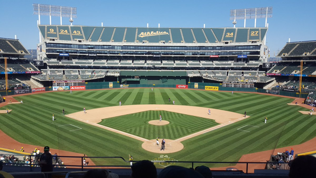Photo of Oakland Coliseum from behind home plate. Home of the Oakland Athletics.