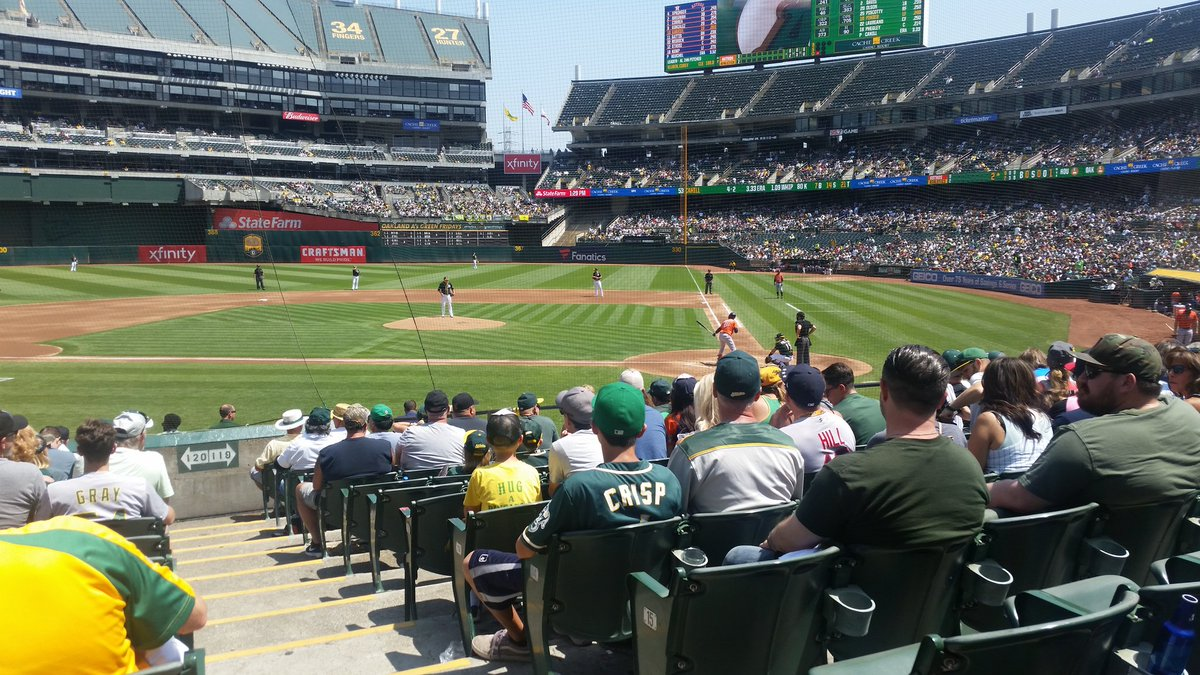 View of Oakland Coliseum from the third baseline during an Oakland Athletics game.