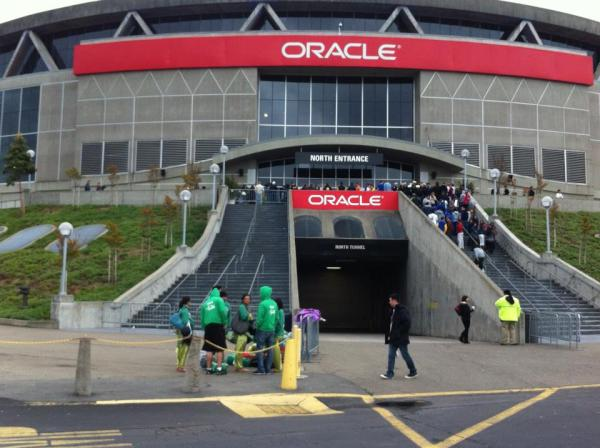 Exterior photo of Oracle Arena. Home of the Golden State Warriors.
