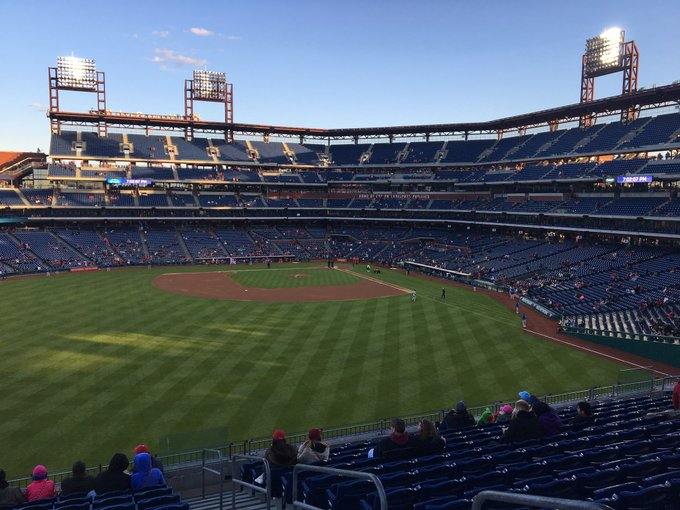 Photo of a Philadelphia Phillies game from the outfield of Citizens Bank Park.