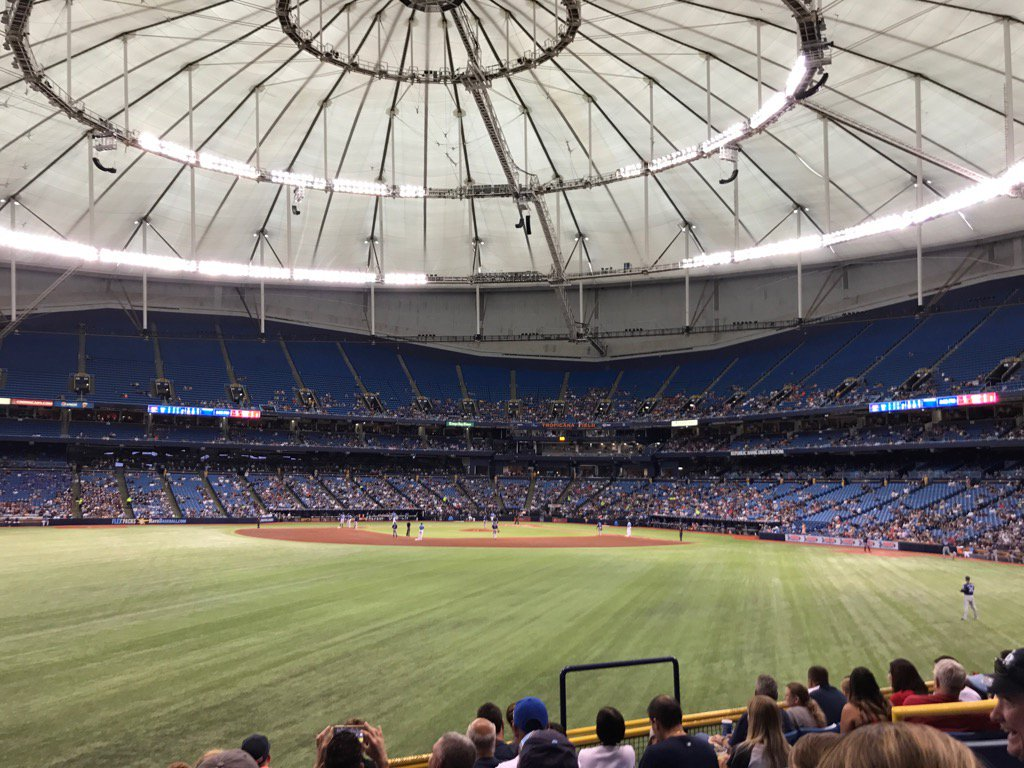 View from the outfield seats at Tropicana Field during a Tampa Bay Rays game.