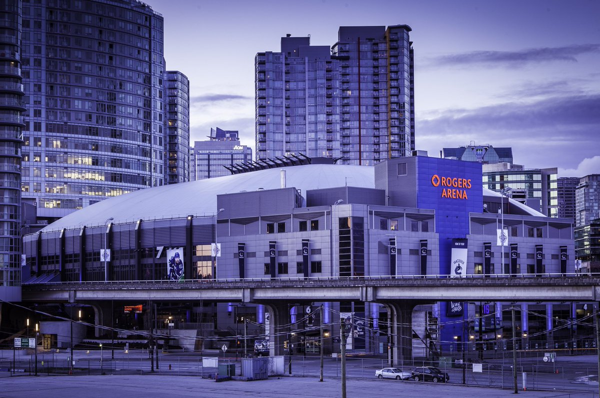 Exterior photo of Rogers Arena in Vancouver, British Columbia.