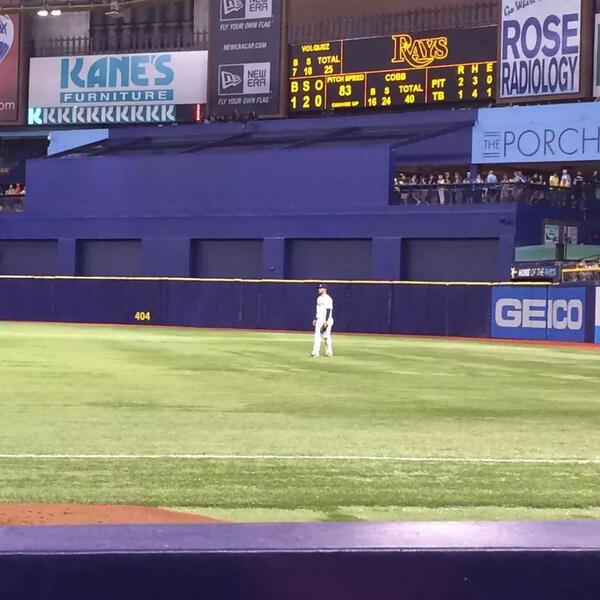View of Tropicana Field from the Papa John's Bullpen Box seats.
