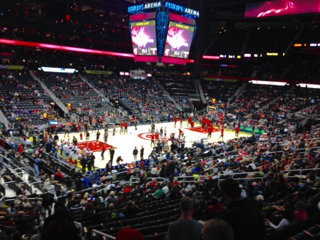 Photo of the court at Philips Arena. Home of the Atlanta Hawks.