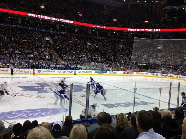 Photo of a Toronto Maple Leafs game from the lower level of Scotiabank Arena.
