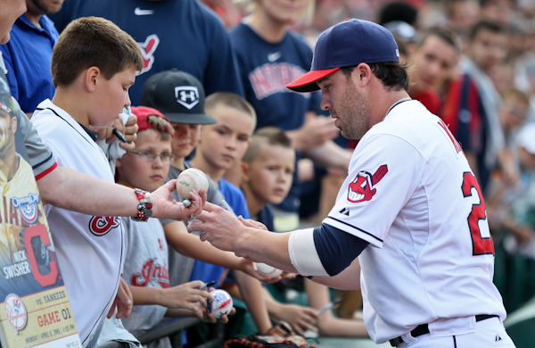Photo of Jason Kipnis of the Cleveland Indians Signing Autographs at Batting Practice.