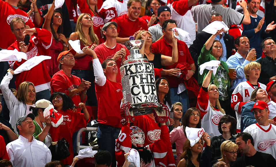 Photo of Detroit Red Wings fans at Joe Louis Arena.