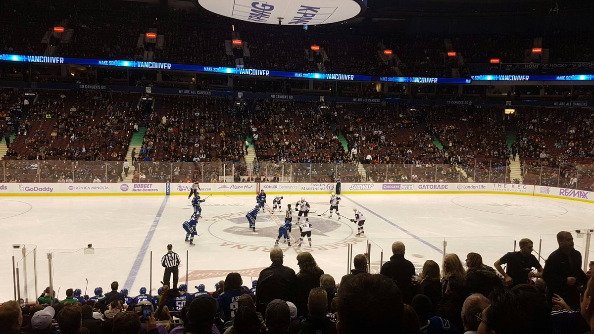Photo of a Vancouver Canucks game at Rogers Arena.