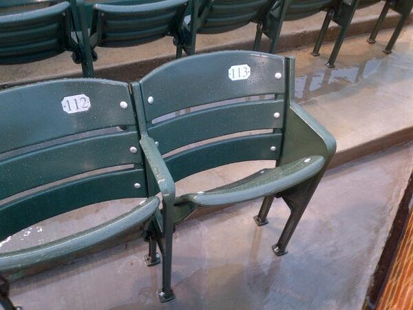 Photo of the Steve Bartman seat at Wrigley Field. Home of the Chicago Cubs.
