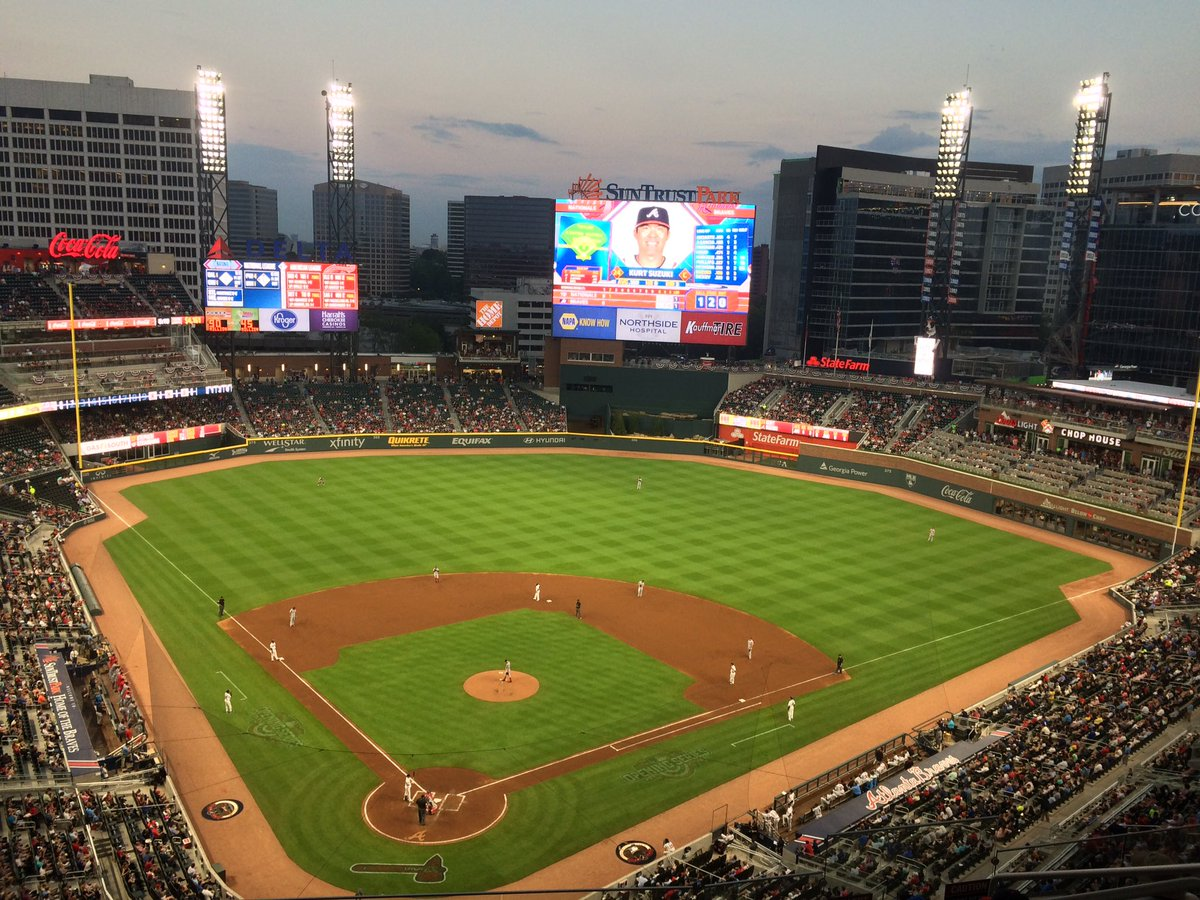 Photo of the field at SunTrust Park, home of the Atlanta Braves.