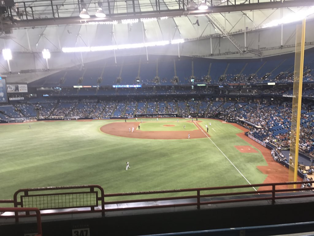 View from the Tbt Party Deck at Tropicana Field during a Tampa Bay Rays game.