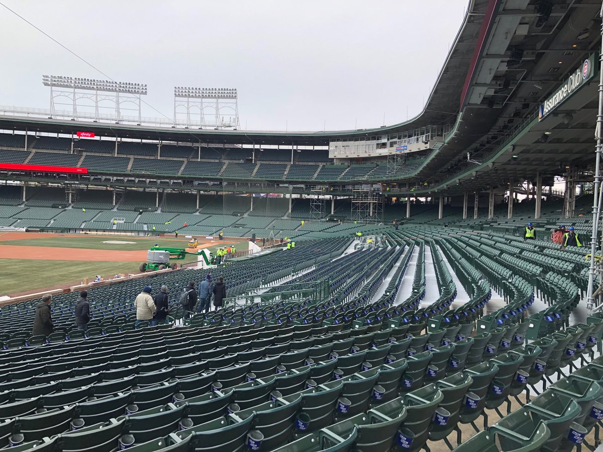 Photo of the third baseline seats at Wrigley Field before a Chicago Cubs home game.