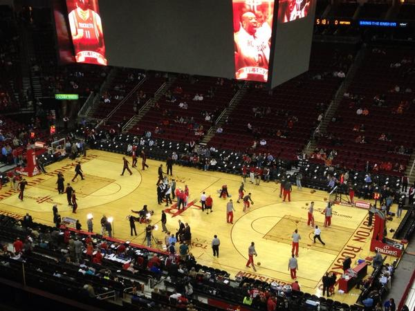 Interior photo of the Toyota Center, Home of the Houston Rockets.