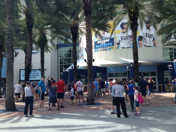 Exterior photo of Tropicana Field, home of the Tampa Bay Rays.