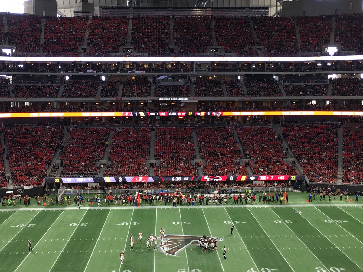 Photo of the turf at Mercedes-Benz Stadium during an Atlanta Falcons game.