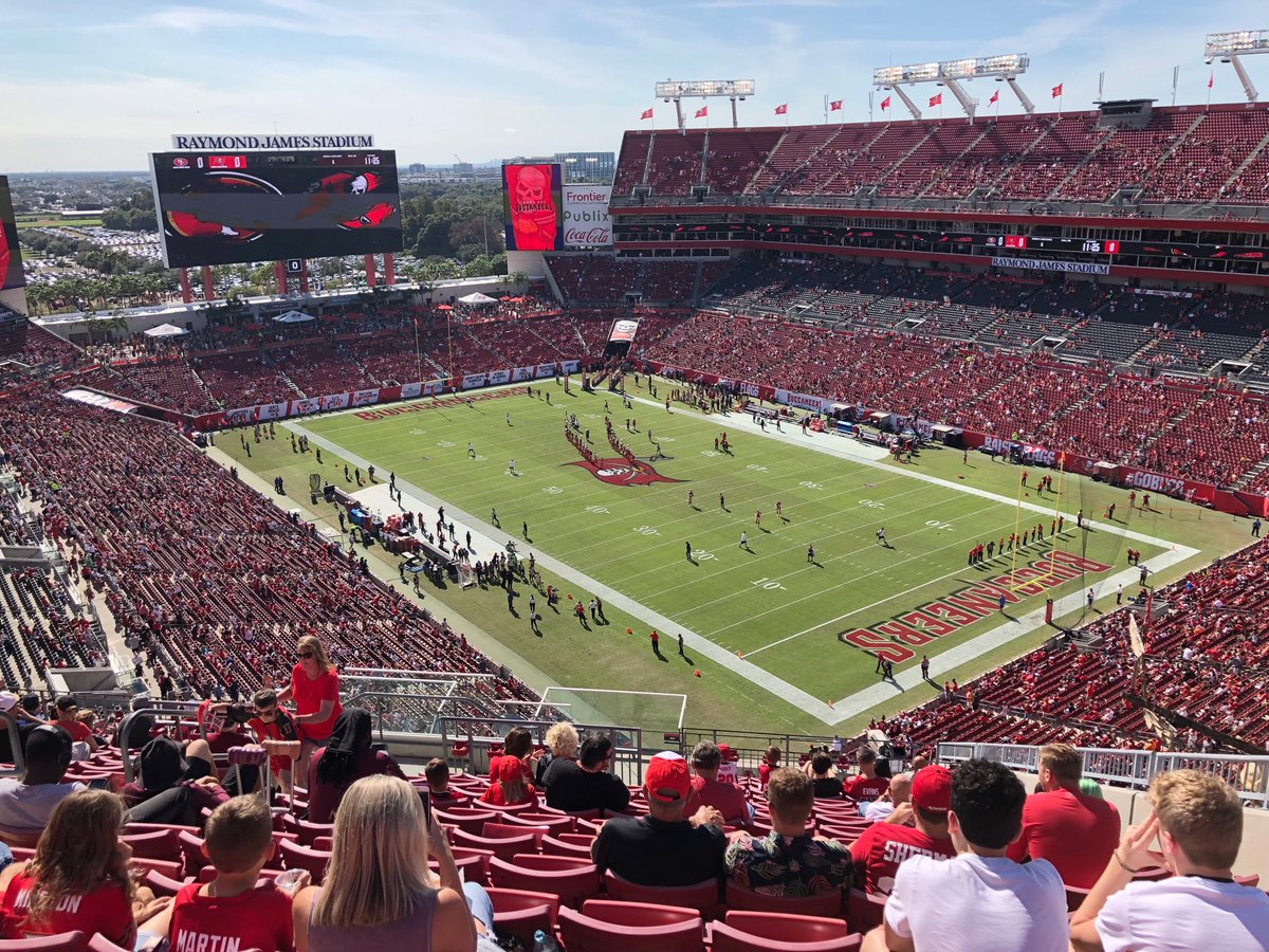 Photo of Raymond James Stadium from the upper level during a Tampa Bay Buccaneers game.