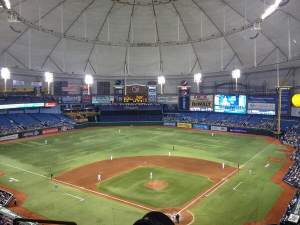 View from the upper level seats at Tropicana Field during a Tampa Bay Rays game.
