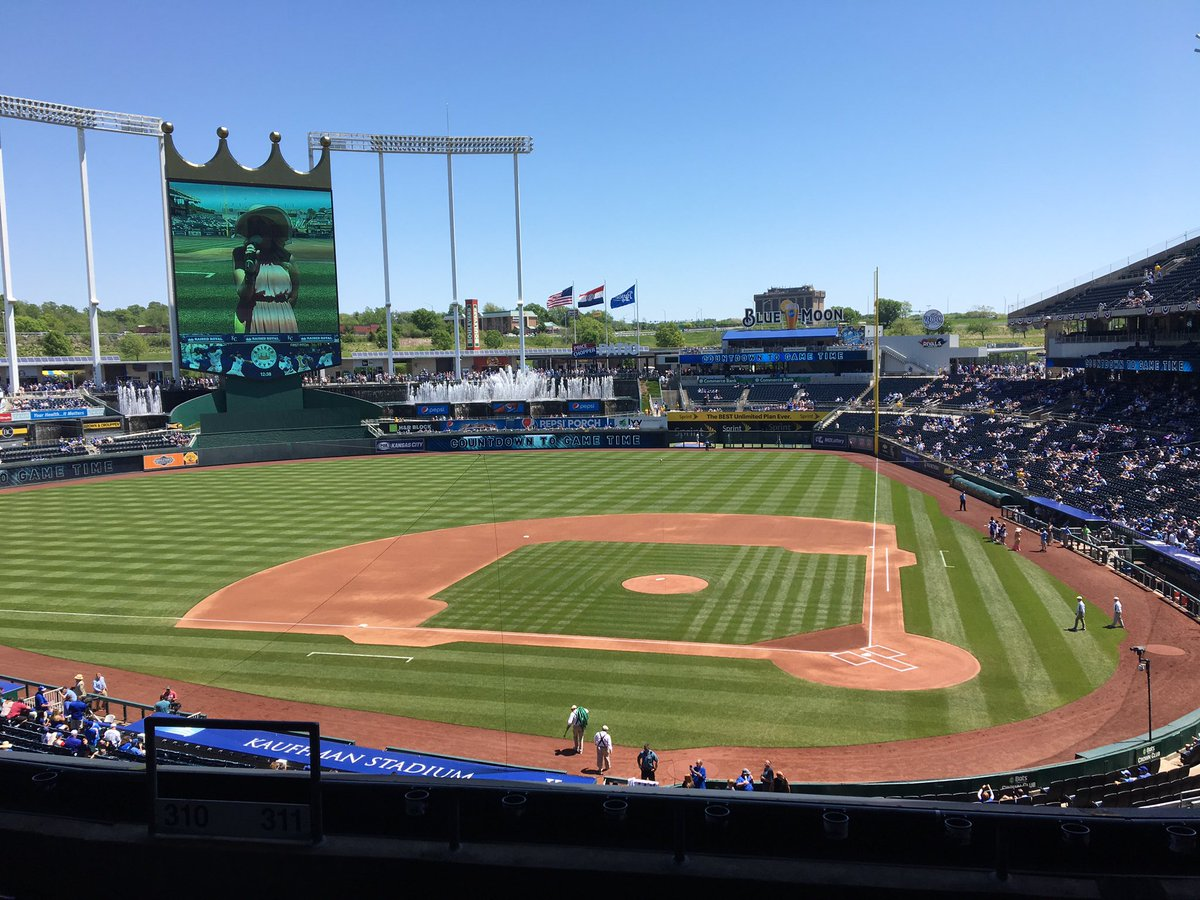 Photo of the infield at Kauffman Stadium, Home of the Kansas City Royals