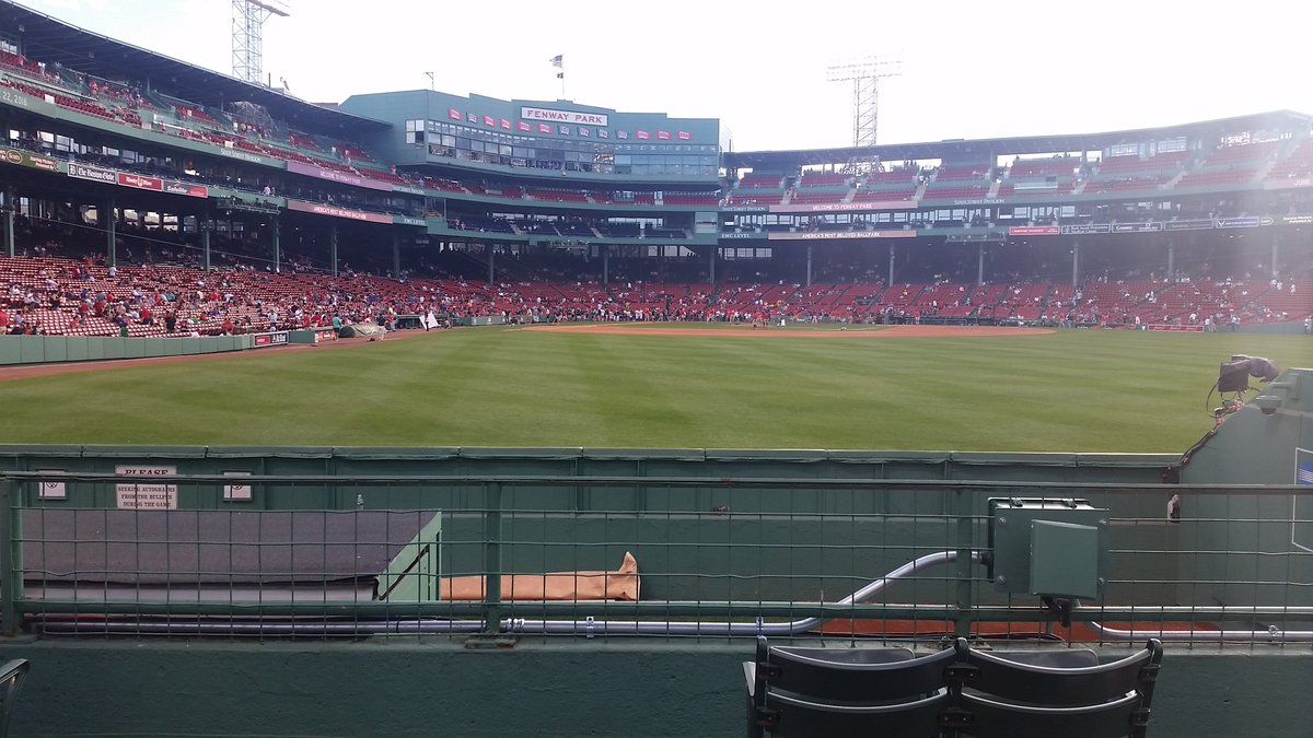 Photo of the visiting team's bullpen at Fenway Park. Home of the Boston Red Sox.