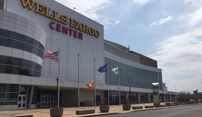Exterior photo of the Wells Fargo Center, home of the Philadelphia 76ers and Flyers.