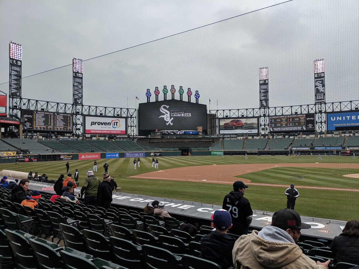 Photo of empty seats at Guaranteed Rate Field during a Chicago White Sox game.