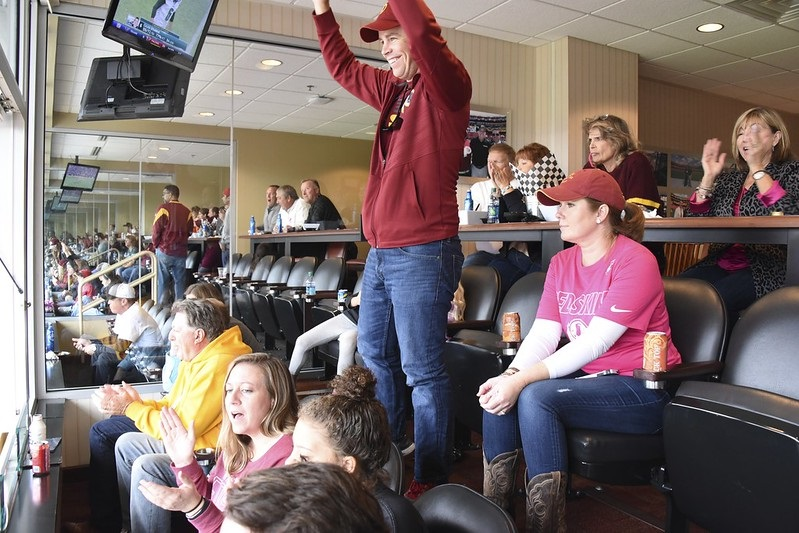 Photo taken inside an Executive Suite at Fedex Field during a Washington Redskins home game.