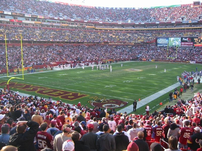 Photo taken from the lower level seats at Fedex Field during a Washington Redskins home game.