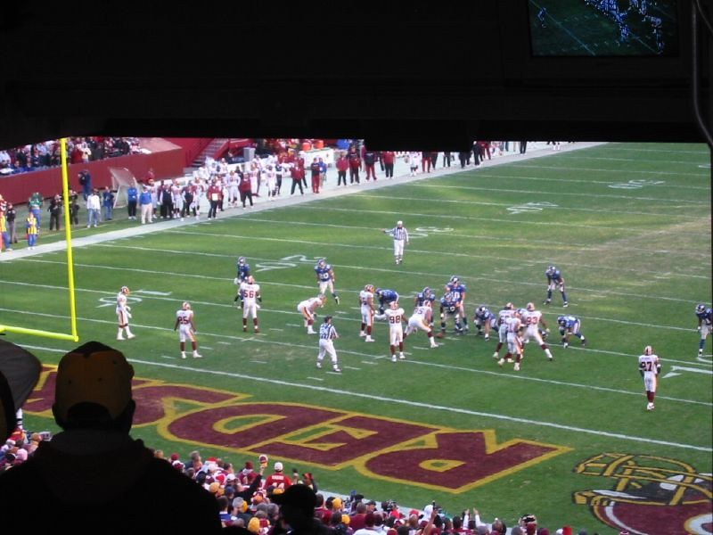 Photo taken from the terrace seats at Fedex Field during a Washington Redskins home game.
