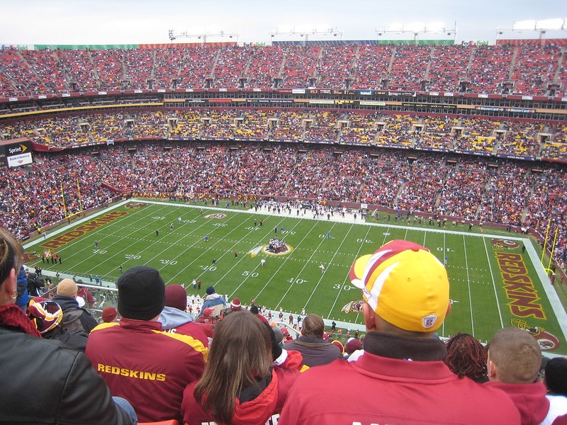 Photo taken from the upper level seats at Fedex Field during a Washington Redskins home game.