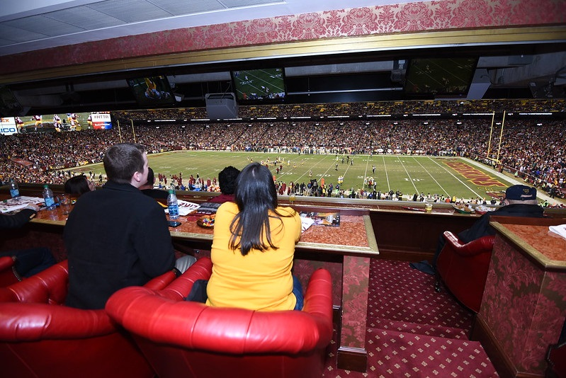 Photo taken from an Owner's Suite at Fedex Field during a Washington Redskins home game.