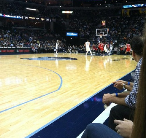 View from the floor seats at FedexForum during a Memphis Grizzlies game.