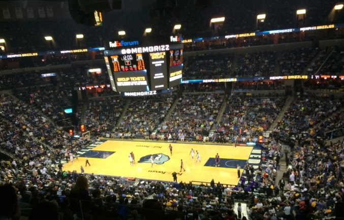 View from the Pinnacle Club seats at FedexForum during a Memphis Grizzlies game.