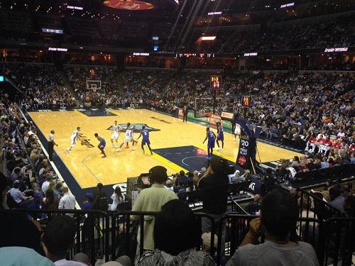 View from the plaza level seats at FedexForum during a Memphis Grizzlies game.