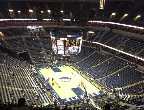 View from the terrace level seats at FedexForum before a Memphis Grizzlies game.