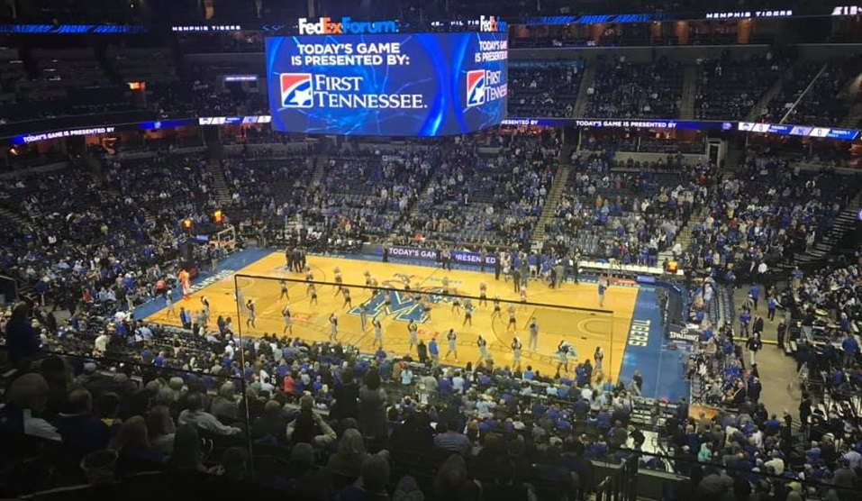 View from the Theater Box seats at FedexForum during a Memphis Tigers basketball game.