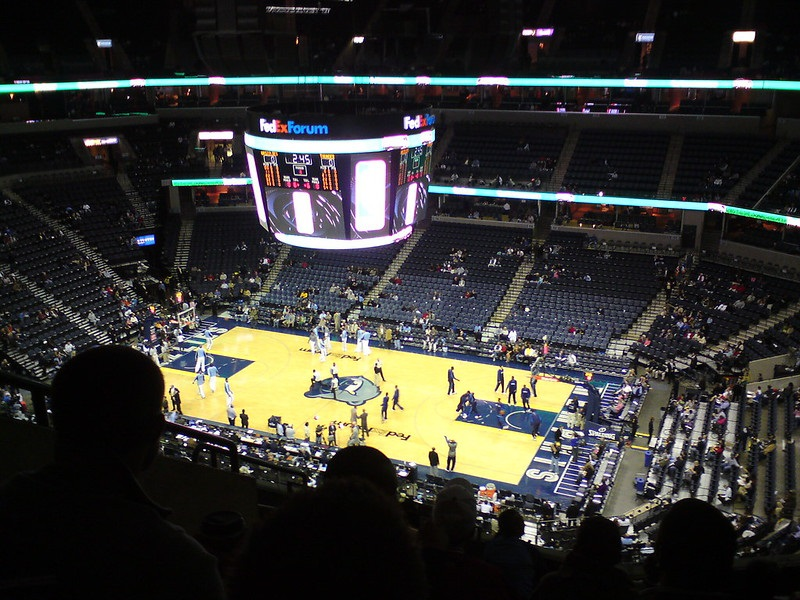 Photo taken from the upper level of FedexForum during a Memphis Grizzlies home game.