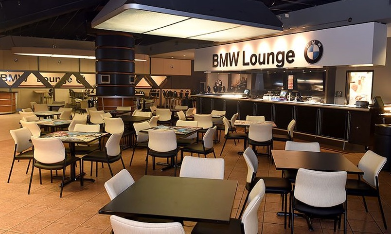 Interior photo of the BMW Lounge at Gila River Arena, home of the Arizona Coyotes.